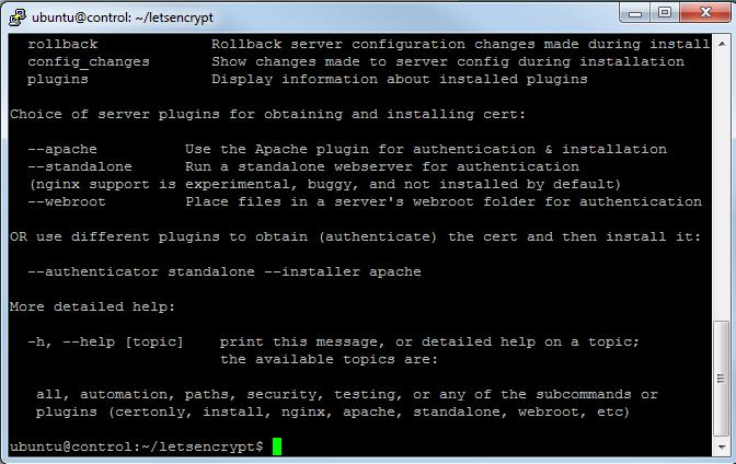 letsencrypt installation